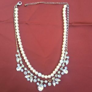 VINTAGE Two Strand PEARL Rhinestone NECKLACE
